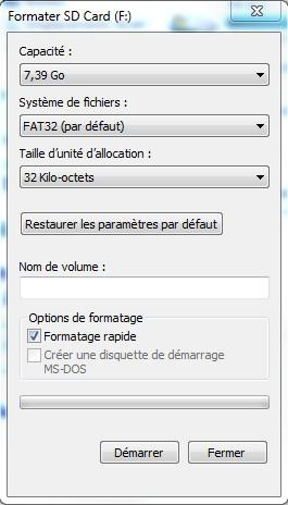 Formater une Carte SD