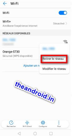 Oublier un Wifi android